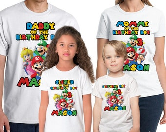 Super Mario Bros Birthday Shirt Custom Super Mario Birthday Party Shirt Add Personalize Name & Age