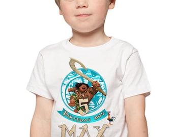 Moana Birthday Shirt Custom Maui Birthday Party Shirt Add Personalize Name & Age