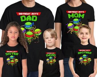 Teenage Mutant Ninja Turtles Birthday Shirt Add Name & Age TMNT Personalized Birthday Party T-Shirt