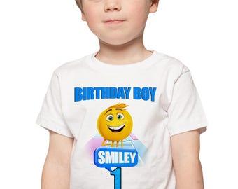 The Emoji Movie Birthday Shirt Personalize Add Name & Age Emoji Movie Custom Birthday Party Shirt
