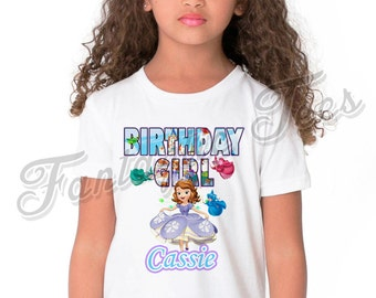 Sofia the First Birthday Shirt Add Name & Age Sofia Custom Birthday Party TShirt 02