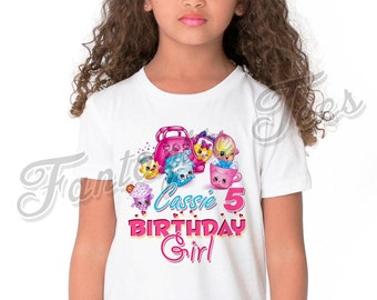 Shopkins Birthday Shirt Add Name & Age Shopkins Custom Birthday Party TShirt A