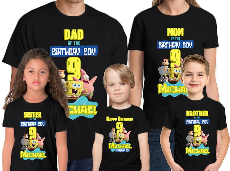 Spongebob Birthday Shirt Add Name & Age Spongebob Custom ...