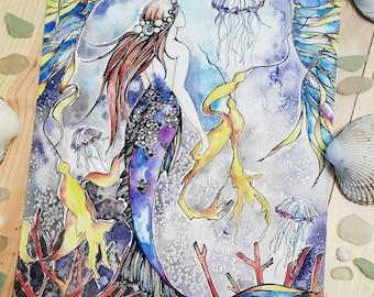 Mermaid Giclee 8x10 Print from my Original Watercolor Painting Jellyfish Ocean Sea Ethereal Magic Seaweed Coral Heidi Jansson Lumen Moon