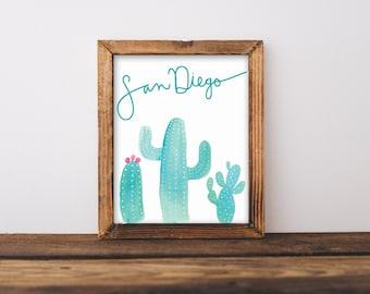 Cactus Print, San Diego art, Custom print, Home Decor, painted Cactus, Watercolor, Desert wall art, Wall decor, Renewed Daily, Custom Order