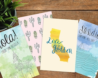 Postcards, Postcard set, Watercolor art, Travel art, california post cards, San Diego post cards, wedding favors, california wedding
