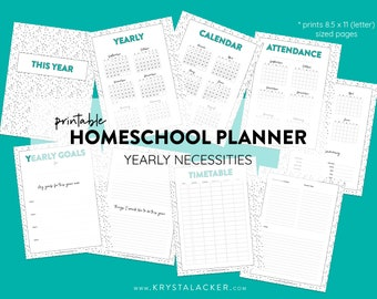 Printable Homeschool Teacher Planner - Yearly Essentials - US Letter 8.5x11 Size