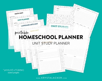 Printable Homeschool Teacher Planner - Unit Study Planner - US Letter 8.5x11 Size