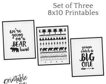 Going On A Bear Hunt - Set of Three - 8x10 Monochrome Boho Nursery Art Printable