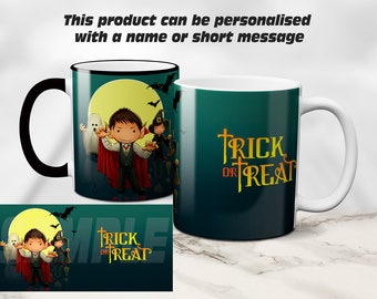 Happy Halloween, Trick or Treat, personalised mug gift. Coffee / Tea Mug