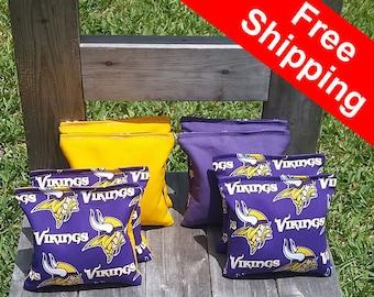 "FREE SHIPPING! Minnesota Vikings set of 8 corn hole bags, top notch quality: 6"" regulation size!"