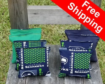 """FREE SHIPPING! Seattle Seahawks set of 8 corn hole bags, top notch quality: 6"""" regulation size!"""