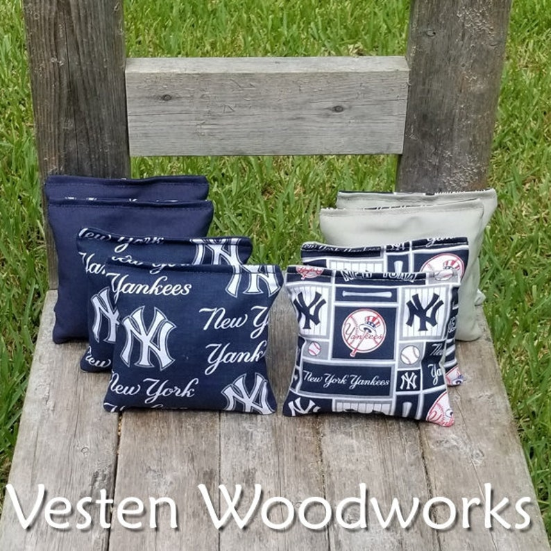 top notch quality 6 regulation size! FREE SHIPPING New York Yankees set of 8 corn hole bags