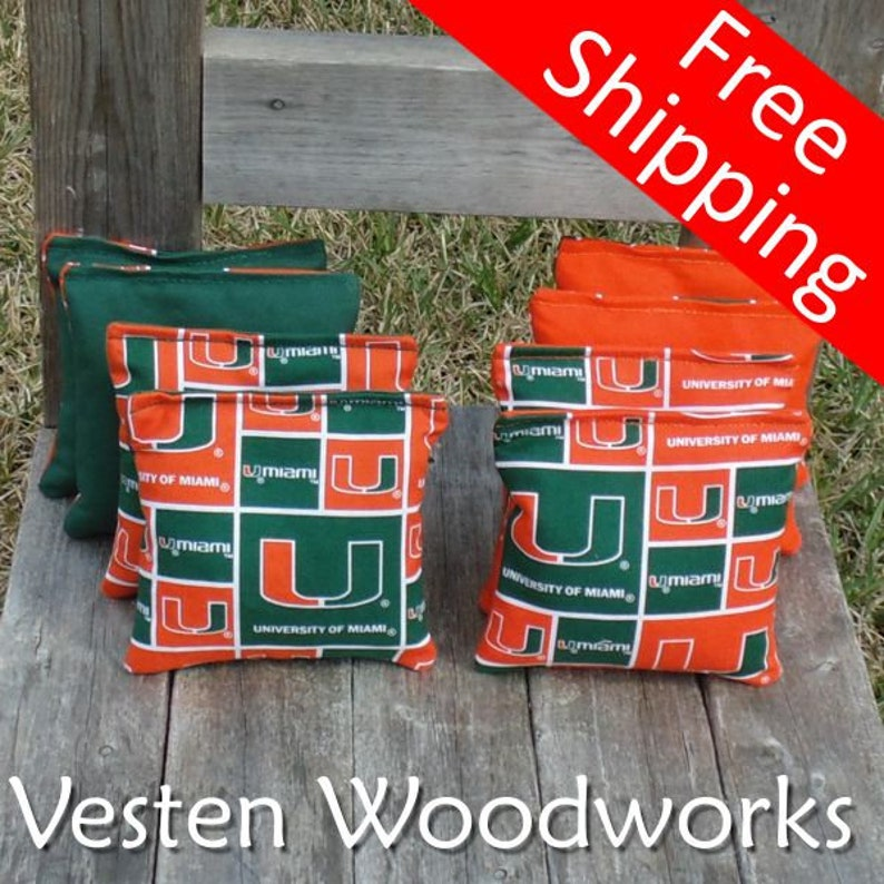 top notch quality 6 regulation size! University of Miami set of 8 corn hole bags FREE SHIPPING