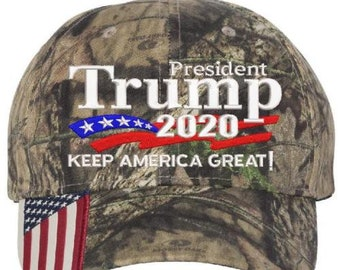 0f8b6e4ce1985 Donald Trump 2020 Keep America Great Embroidered Camo USA Brim Adjustable  Hat