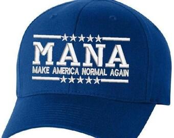 1287657b63721 Anti Donald Trump Democrat Blue Make American Normal Again MANA Embroidered  Hat