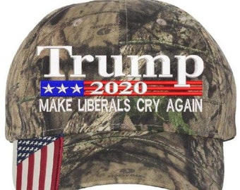 4aedff07d413d Donald Trump Cap Make The Liberals Cry Again President 2020 Flag Mossy Oak  Hat