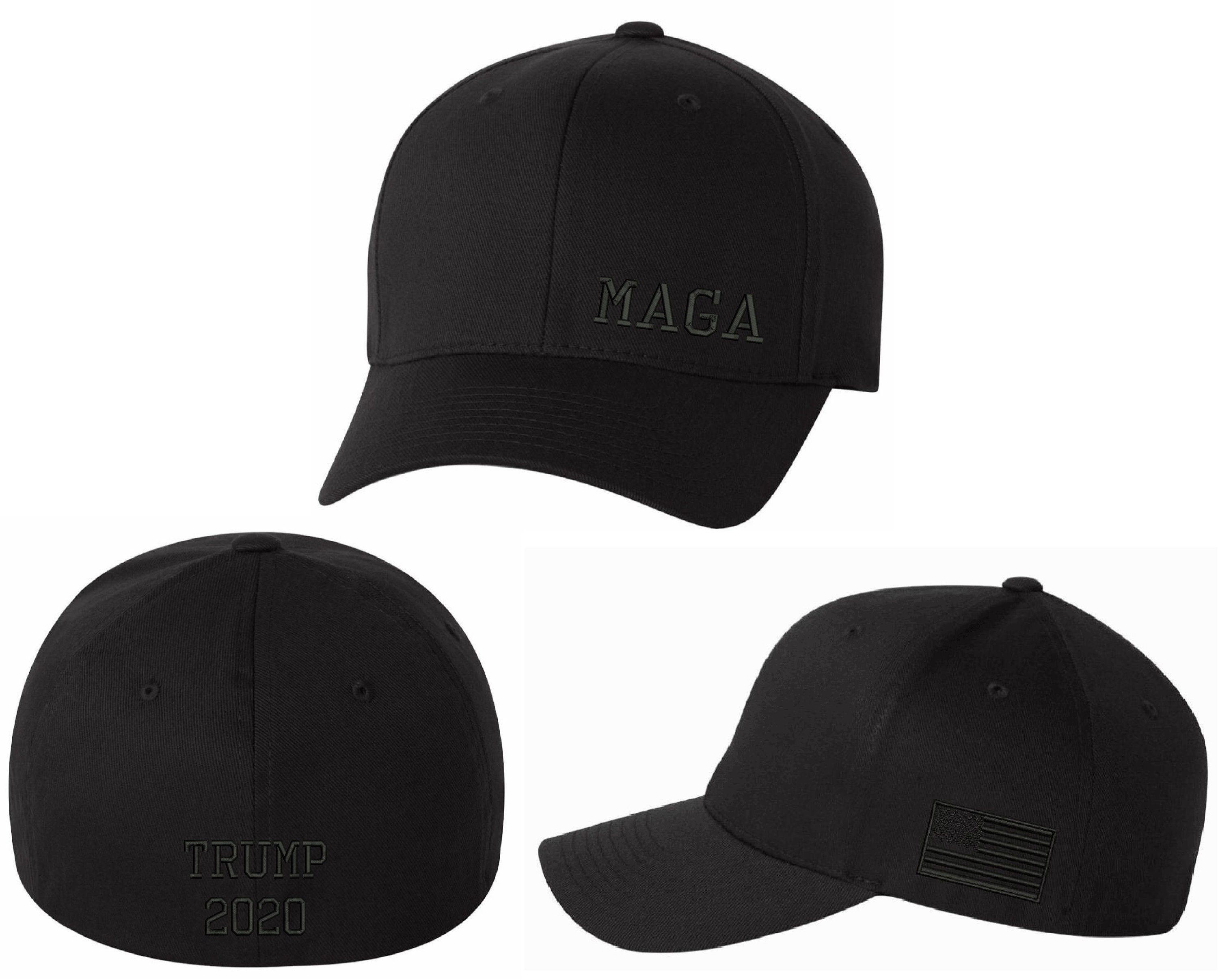 Lower Side MAGA with Flag and Back Make America Great Again Flex Fit Black Hat