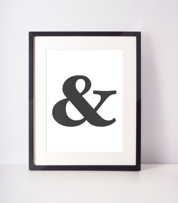 Ampersand Print Black and White Blue Coral Pink Wall | Etsy