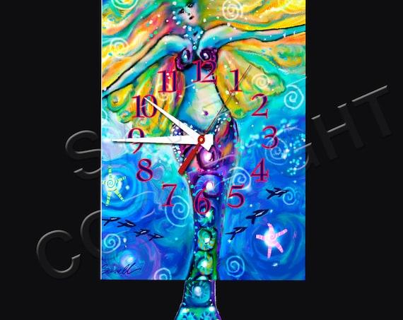 Mermaid Clock with Swinging Tail Pendulum • Beach Clock