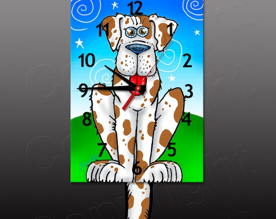 Dog Clock with Swinging Tail Pendulum • Brown Spotted Dog Clock