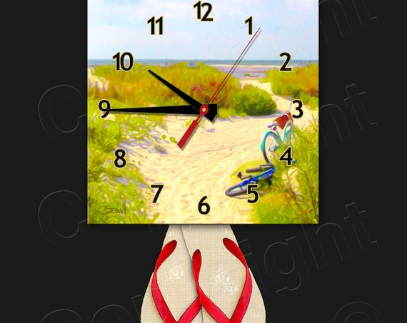 Beach Bikes Clock with Flip Flop Pendulum • Beach Clock