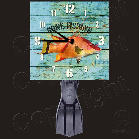 Gone Fishing Clock with Diver's Fin Pendulum • Hogfish Clock • Spearfishing