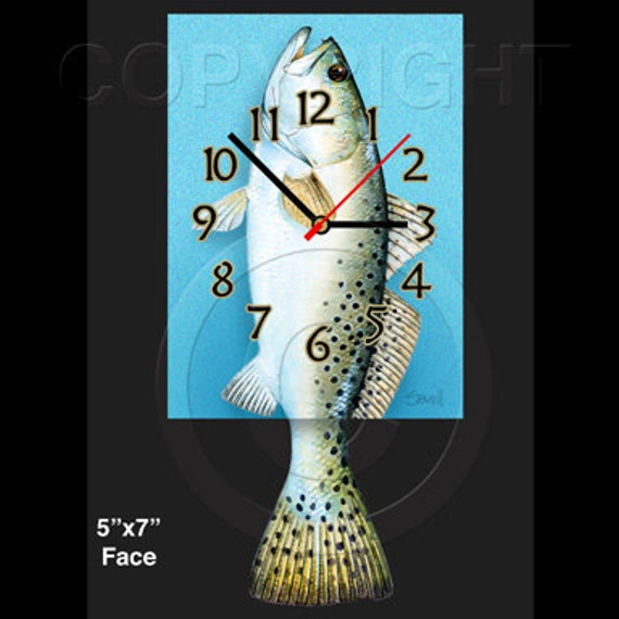 Speckled Trout Clock with Swinging Tail Pendulum • Fish Clock