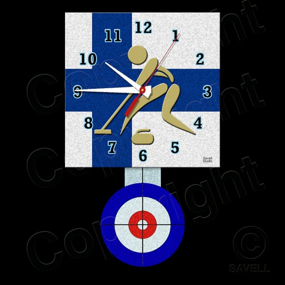 Curling Clock with Pendulum • Finland Sport of Curling • Curling Team