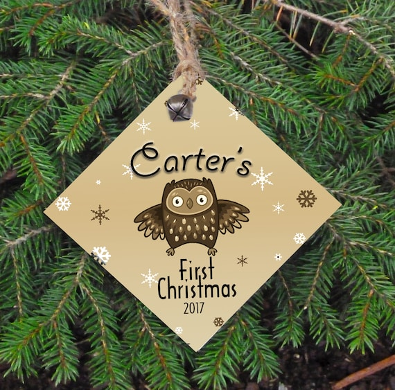 Baby's First Christmas Tree Ornament, Rustic Christmas, Name and Year, Owl, Wood Ornament
