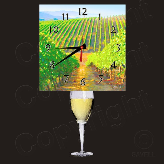 White Wine Tuscany Clock with Wine Glass Pendulum • Wine Clock