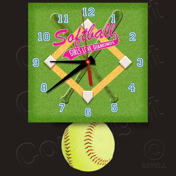 SoftBall Clock with Softball Pendulum • Girls Love Diamonds