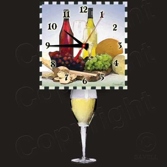 White Wine Clock with Wine Glass Pendulum • Wine Clock