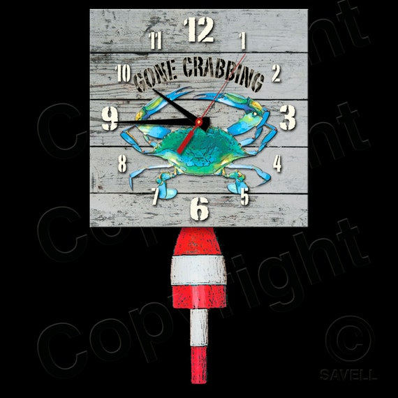 Gone Crabbing Clock with Buoy Pendulum • Blue Crab Clock • Coastal • Bayou Clock