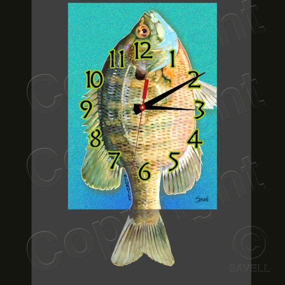 BlueGill Clock with Swinging Tail Pendulum • Fish Clock