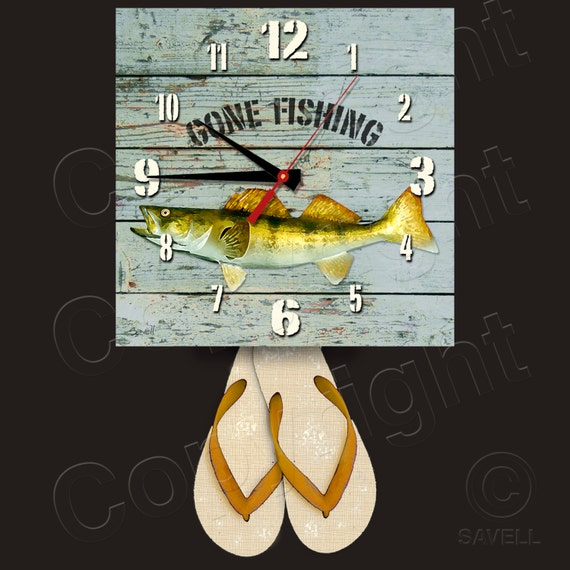 Gone Fishing Clock with Flip Flop Pendulum • Walleye Clock