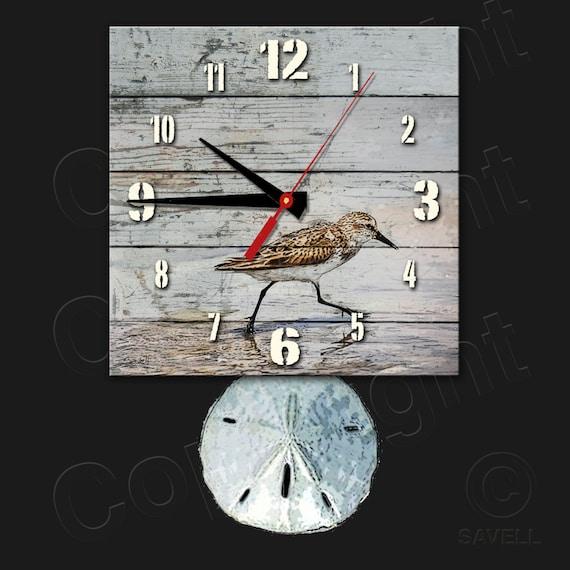 Sandpiper Beach Clock with Sanddollar Pendulum • Beach Clock