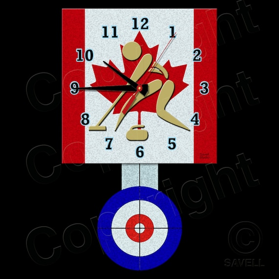 Curling Clock with Pendulum • Canadian Curling • Curling Team