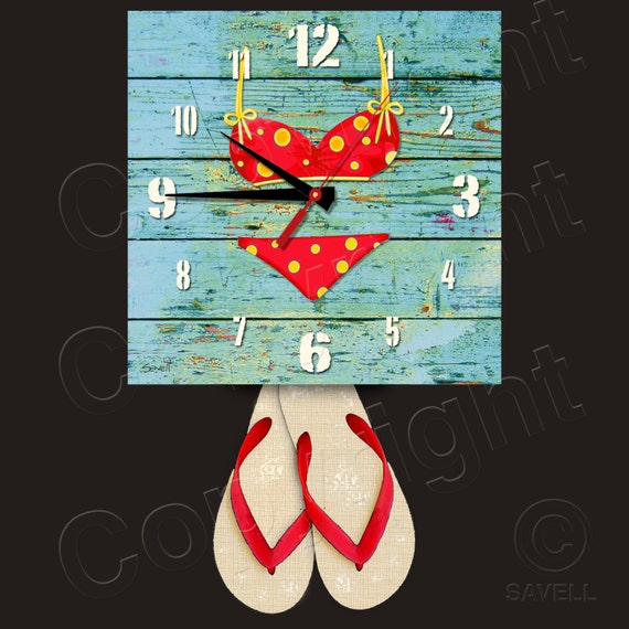 Bikini Clock with Flip Flop Pendulum