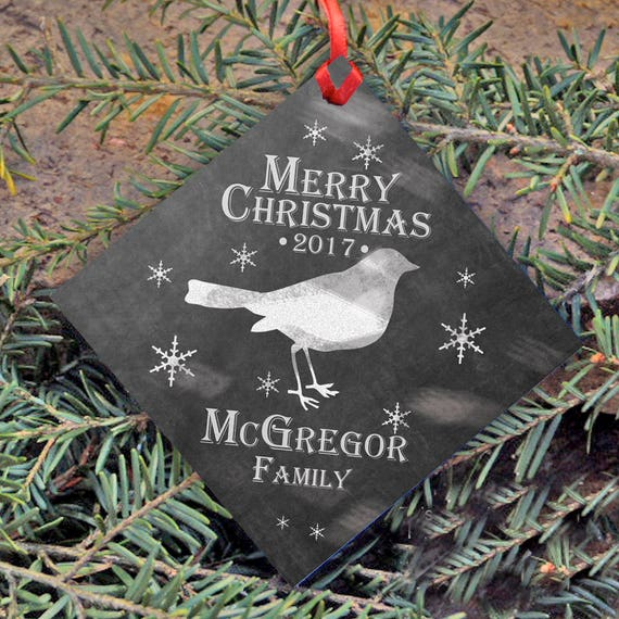Chalkboard Style Christmas Ornament , Personalized Family's Name and Year, Christmas Tree Ornament, Merry Christmas, Bird