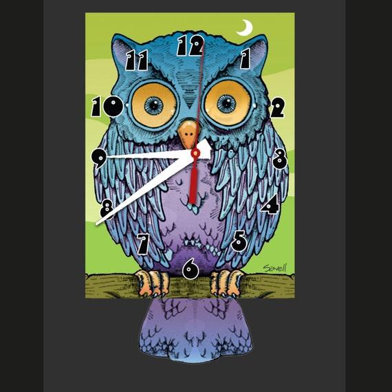 Owl Clock with Swinging Tail Pendulum • Hoot Owl Clock