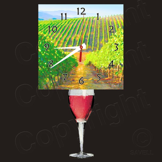 Red Wine Tuscany Clock with Wine Glass Pendulum • Wine Clock