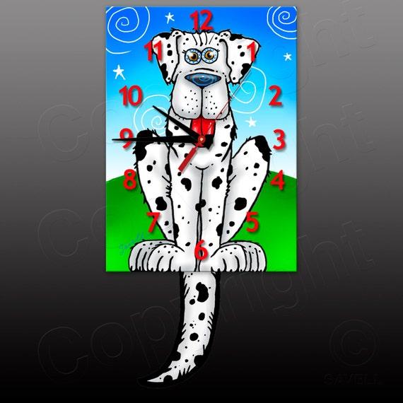 Dog Clock with Swinging Tail Pendulum • Black & White Spotted Dog Clock