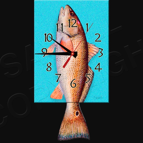 Redfish Clock with Swinging Tail Pendulum • Fish Clock • Red Drum Fish • Bayou Fishing