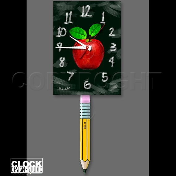 Teacher's Clock with Swinging Pencil Pendulum • Chalkboard Clock
