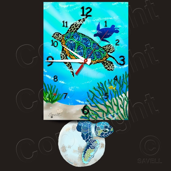 Sea Turtle Clock with Baby Hatchling Pendulum