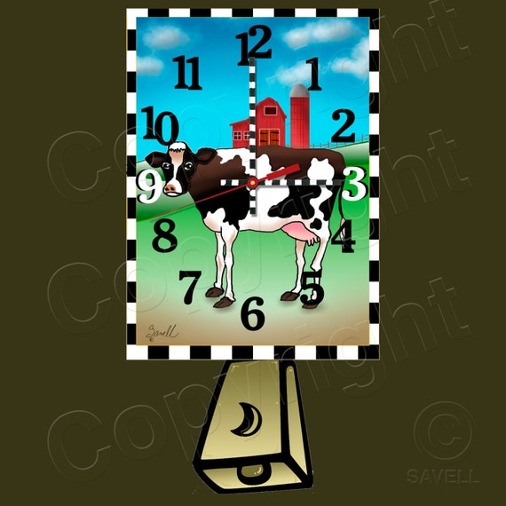 Cow Clock with Swinging Cowbell Pendulum • Dairy Cow Clock • Farm Clock • Urban Farmer