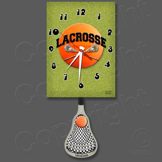 Lacrosse Clock with a Swinging Lacrosse Stick Pendulum