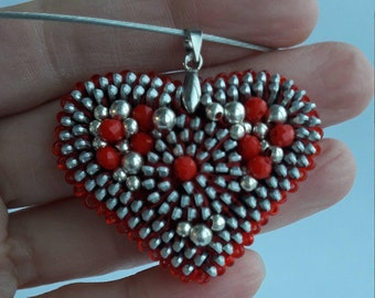 Valentine pendant Red and silver pendant Red zipper pendant Heart pendant Zipper necklace Zipper jewelry Red necklace Heart jewelry