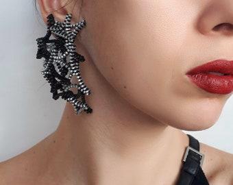 Avant Garde Earrings Modern Art Earrings Contemporary earrings Modernist jewelry Modern earrings Black earrings Statement earrings